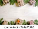 christmas presents with a... | Shutterstock . vector #764679988