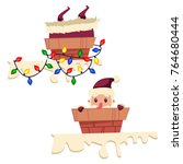 santa claus in the chimney with ... | Shutterstock .eps vector #764680444