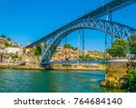 luis i bridge in porto ... | Shutterstock . vector #764684140