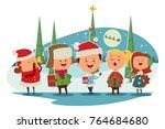 christmas caroling. cute... | Shutterstock .eps vector #764684680