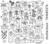 hand drawn gift boxes set... | Shutterstock .eps vector #764685376