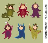 cute monster set. children in... | Shutterstock .eps vector #764688328