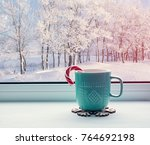 winter background   cup with... | Shutterstock . vector #764692198
