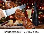 delicious barbecue of picanha... | Shutterstock . vector #764695453