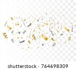 golden confetti isolated.... | Shutterstock .eps vector #764698309