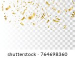 golden confetti isolated.... | Shutterstock .eps vector #764698360