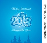 christmas and happy new year... | Shutterstock .eps vector #764703463