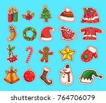 set of christmas stickers... | Shutterstock .eps vector #764706079