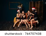 happy women celebrate christmas ... | Shutterstock . vector #764707438