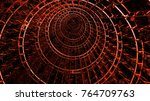futuristic red tunnel or hallway | Shutterstock . vector #764709763
