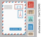 envelope with postage stamps... | Shutterstock .eps vector #764715490