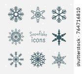 snowflake winter set of blue... | Shutterstock .eps vector #764716810