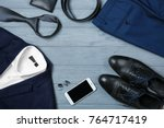 set of stylish male clothes and ...   Shutterstock . vector #764717419