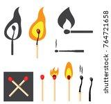 burning matches. vector... | Shutterstock .eps vector #764721658