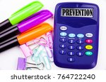 writing word prevention text in ... | Shutterstock . vector #764722240