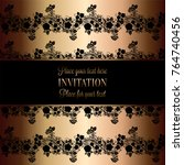 vintage baroque wedding...   Shutterstock .eps vector #764740456