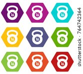 kettlebell icon set many color... | Shutterstock .eps vector #764742364