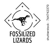 fossilized lizard logo. simple...   Shutterstock .eps vector #764742370