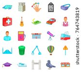 big city icons set. cartoon set ... | Shutterstock .eps vector #764743819