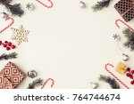 christmas decorations over... | Shutterstock . vector #764744674