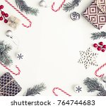christmas decorations over... | Shutterstock . vector #764744683