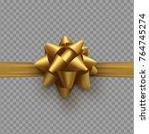 golden bow on ribbon isolated... | Shutterstock .eps vector #764745274