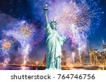 the statue of liberty with... | Shutterstock . vector #764746756