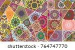 vector patchwork quilt pattern. ... | Shutterstock .eps vector #764747770