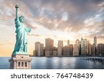 The statue of liberty with...