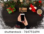 christmas online shopping... | Shutterstock . vector #764751694