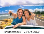 road trip travel couple showing ... | Shutterstock . vector #764752069