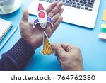 start up concepts with rocket... | Shutterstock . vector #764762380