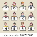 line style characters with... | Shutterstock .eps vector #764762488
