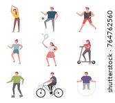 people who exercise for health... | Shutterstock .eps vector #764762560