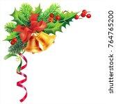 christmas border with bells ... | Shutterstock .eps vector #764765200