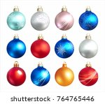 collection of christmas balls.... | Shutterstock .eps vector #764765446