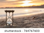 hourglass in the dawn time.... | Shutterstock . vector #764767603