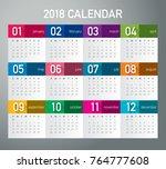 year 2018 calendar vector... | Shutterstock .eps vector #764777608