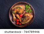 grilled chicken legs with... | Shutterstock . vector #764789446