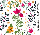 seamless floral pattern | Shutterstock .eps vector #764790700