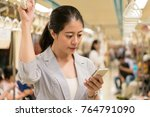 beautiful asian office lady... | Shutterstock . vector #764791090
