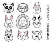 set of cute animal faces black  ... | Shutterstock .eps vector #764792014