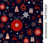 christmas seamless tiling ... | Shutterstock .eps vector #764792824