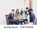dinner with asian group of best ... | Shutterstock . vector #764792848