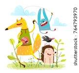 fox hedgehog rabbit playing... | Shutterstock . vector #764793970