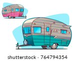 vintage camper. cartoon...