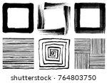 set of brush stroke squares.... | Shutterstock .eps vector #764803750