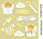 cute angels and items stickers...   Shutterstock .eps vector #764807209