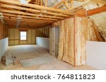 Small photo of thermal and hidro insulation Inside wall insulation in wooden house, building under construction