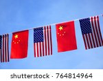usa and china flags hanging... | Shutterstock . vector #764814964